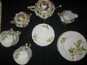Nippon Tea Set 3pc And 6 Service Rose Pattern Dersert Set By Ucag Co China