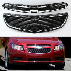 Honeycomb Mesh Chrome Front Bumper Upper Lower Grille For Chevy Cruze 11 14