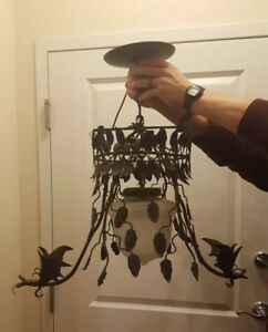 Pairpoint Iron Vines Griffins Chandelier With Original Glass Globe Art Neaveux