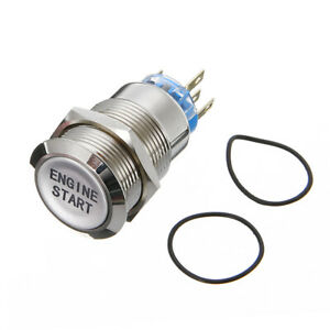 12v 19mm Led Car Push Button Switch Momentary Engine Start Waterproof Aluminum