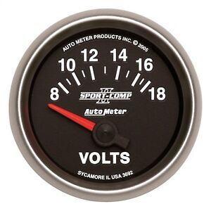 Autometer 3692 Sport comp Ii Electric Voltmeter Gauge With White Led Lighting