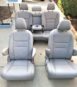 New Takeouts Gray Leather Bucket Seats Rear Bench Seat Truck Van Hotrod Bus