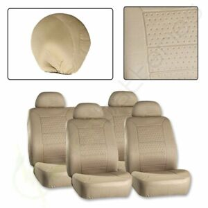10pcs Full Set Protective Beige Embossed Car Auto Seat Covers For Volvo Mini Vw