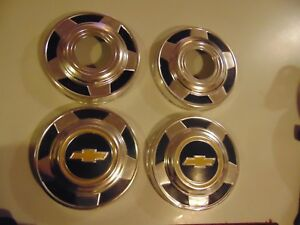 Vintage Chevy Dog Dish Hubcaps 10 5 Inch Set Of 4