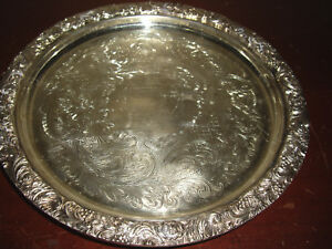 Sheffield Silver Plate Serving Tray Salver Ornate Scroll Border 9 25