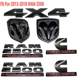 For Dodge Ram 2500 Grille Tailgate Cummins Turbo Diesel Emblem Badge Black 7 Pcs