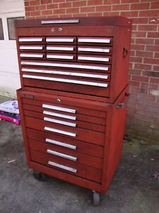 Vintage Kennedy 19 drawer Top Bottom Rolling Machinist Toolbox Tool Chest