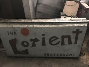 Restaurant Sign Outdoor Illuminated Double Sided Antique The Lorient 1960 s