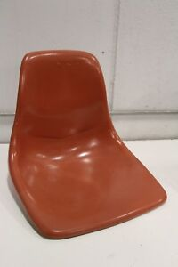 Vtg Unit Plastic Inc Fiberglass Side Shell Chair Orange Eames Herman Miller Aura