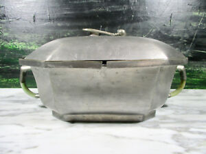 Antique Chinese Republic Period Jade Handles Pewter Food Warmer Server Marked