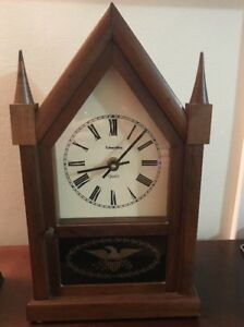 Ethan Allen Wooden Steeple Eagle Glass Mantle Clock Very Nice Works Vtage 1981