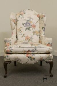Ethan Allen Floral Upholstered Wing Back Accent Arm Chair