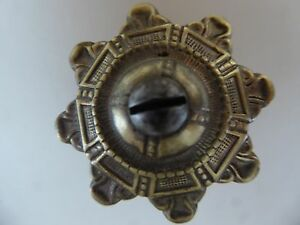 Antique Victorian Brass Star Rosette Escutcheon Furniture Trim Hardware