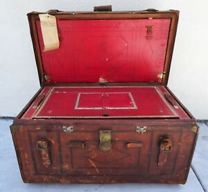 Large Antique Sole Leather Steamer Trunk Chest Circa Late 1800 S