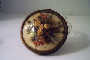 Art Deco Style Powder Jar With Dried Flowers Under Curved Glass Top