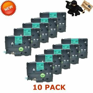 Us Seller 10 Pk Tz741 Tze741 Black On Green 18mm Label Tape For Brother P touch