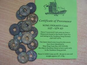 3 Chinese Song Shipwreck Ship Wreck Coins