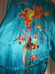 Golden Bee Embroidered Chinese Dragon Phoenix Aqua Long Kimona Robe Ladies M