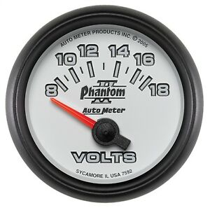 Autometer 7592 Phantom Ii Electric Voltmeter Gauge With Blue Led Lighting