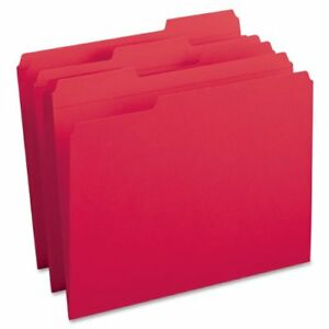 Smead 12734 Red Colored File Folders With Reinforced Tab Letter smd12734