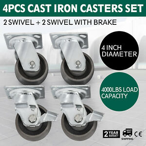 4 Steel Cast Iron Swivel Casters 4000 Lb Flexible Platform Trucks Heavy Duty