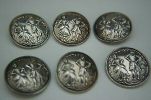 Antique Sterling Silver Set Of 6 Buttons Berthold Muller Chester 1906