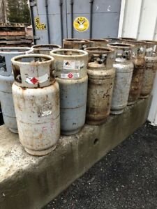 One Lot Of 12 Used Steel Forklift Propane Tanks