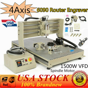 Usb 4axis Cnc Router 6090 Engraver Milling Engraving Drilling Machine 1500w 220v
