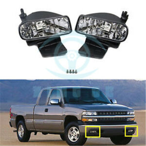 Front Bumper Fog Driving Lights Housing Cover For Chevrolet Silverado 2000 2006