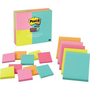 Post it reg Super Sticky Notes Assorted Sizes Miami Collection 463315ssmia