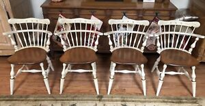 Vtg 1970s Set Of 4 Ethan Allen Heirloom Rare Orig White Comb Back Chairs Euc