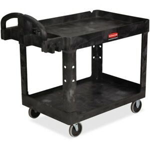 Rubbermaid Commercial Medium Utility Cart With Lipped Shelf 452088bk