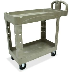 Rubbermaid Commercial Two Shelf Service Cart 450088 Beig