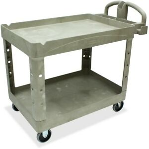 Rubbermaid Commercial Two Shelf Service Cart 452088 Beig