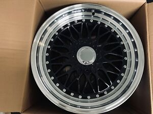 Brand New Set Of 17x8 5 Black Machine Rs Style Rims Wheels For Bmw 5x120