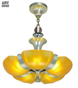 Streamline Art Deco Slip Shade Chandelier Ant 1043