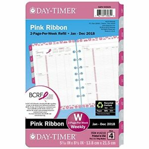 Day timer Dtm142101701 Pink Ribbon Two page per week Organizer Refill 5 1 2 X 8