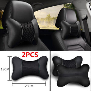Car Seat Headrest Pad Pillow Pu Leather Knitted Neck Rest Support Cushion Pretty