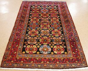 5 X 8 Antique Persian Kurdish Tribal Hand Knotted Wool Navy Red Oriental Rug