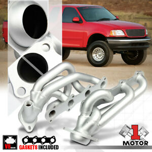 Silver Coated Ss Shorty Exhaust Header Manifold For 97 03 Ford F150 5 4 330 V8