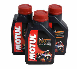 Motul 104091 4t 7100 Synthetic Ester 10w 40 4 Stroke Engine Oil 1 Liter 3 Pack