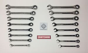 Craftsman 16pc Sae Metric Dual Ratcheting open Box Combination Wrench Set