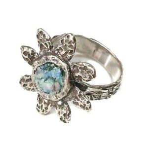 Roman Glass Ring Sterling Silver 925 Fragments Ancient 200 B C Flower Israel