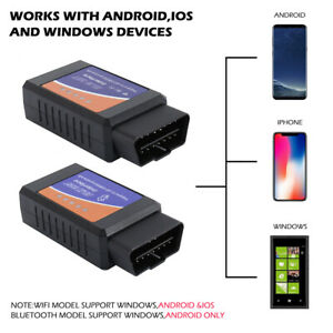 Mini Elm327 Wifi Bluetooth Obd2 Car Diagnostic Scanner For Iphone Android Pc