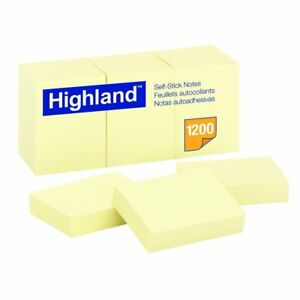 Highland Self stick Notes 1 1 2 X 2 In Yellow Pad Of 100 Sheets Pack Of 12