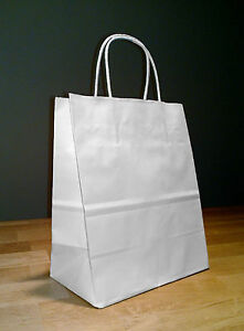 100 White Paper Cub Shopping Bags With Rope Handles 8 25 X 4 75 X 10 25