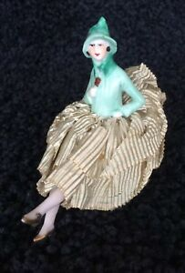 Antique Porcelain Half Doll W Legs Pin Cushion Art Deco Germany
