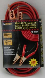 12 Ft 10 Gauge Copper Emergency Car Battery Power Booster Jump Jumper Cables New