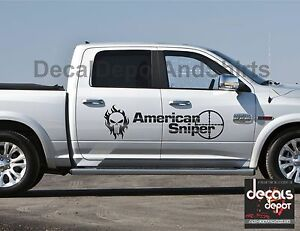2x American Sniper Decal Sticker Vinyl Fits Chevy Silverado 1500 2500hd 3500hd