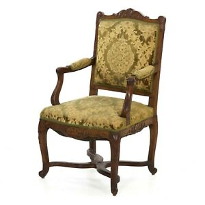 Antique Arm Chair In Louis Xv Style French Rococo Revival Hand Carved Walnut
